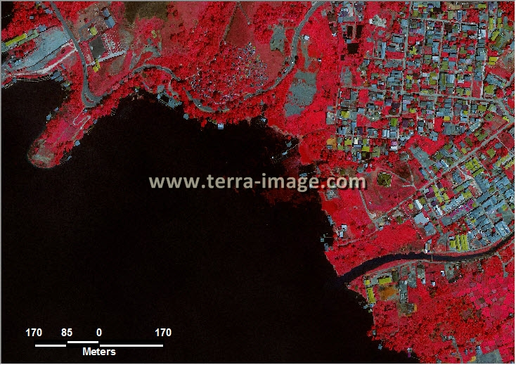 citra satelit worldview-2 red color jayapura papua