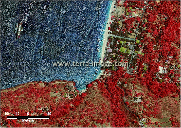 citra satelit worldview-2 red color klungkung bali